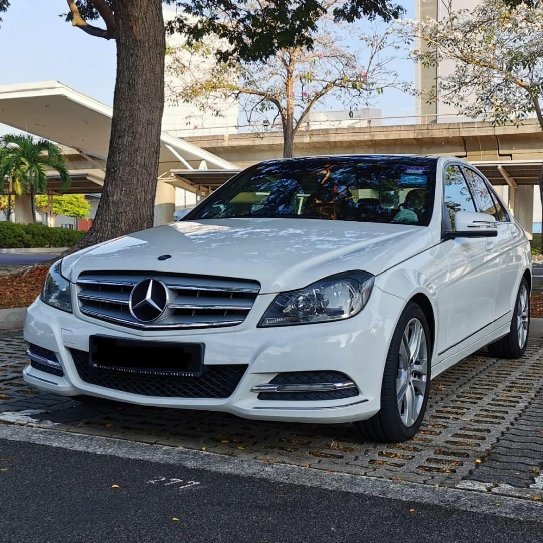 Purity White Mercedes Benz C180 with nice 2-digit number for  Wedding Rental