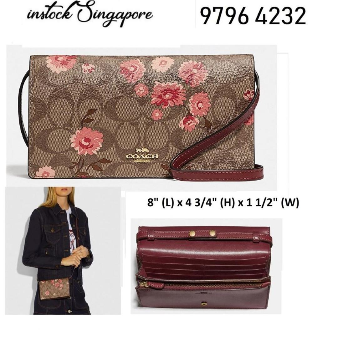 READY STOCK - AUTHENTIC - NEW Coach HAYDEN FOLDOVER CROSSBODY CLUTCH IN SIGNATURE CANVAS WITH PRAIRIE DAISY CLUSTER PRINT (COACH F78044)