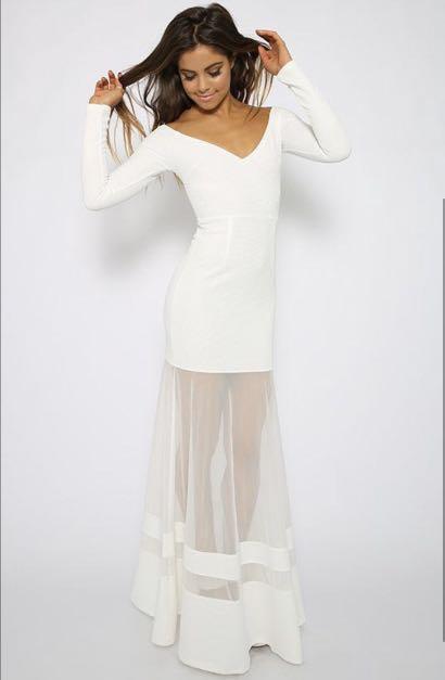 SHOWPO White Off the Shoulder Dress Mesh Panel Maxi Forma