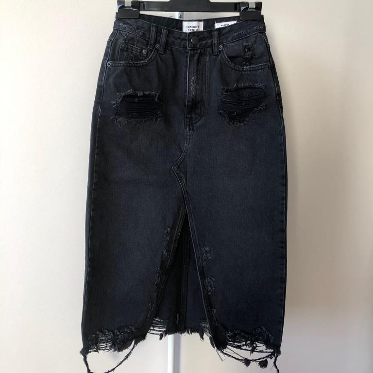 Subtitled black denim midi skirt with front split (Aus size 6)