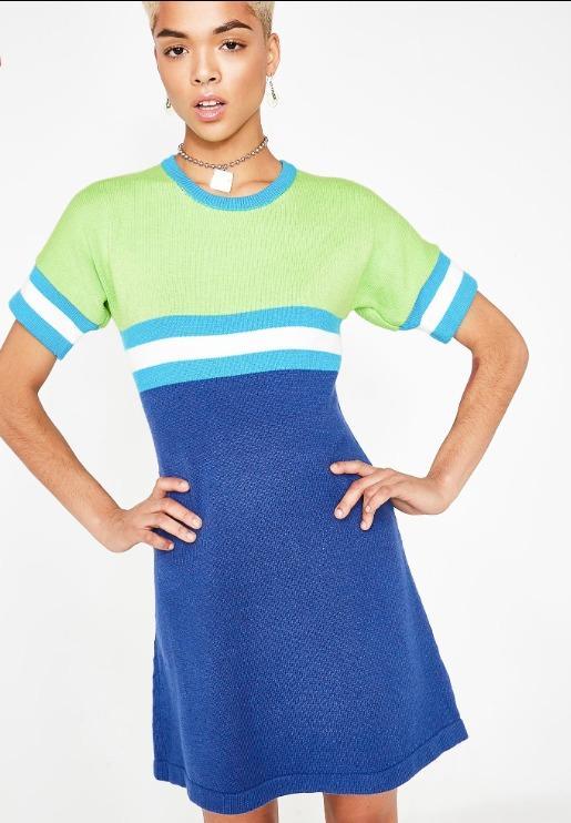 Sweater Dress Green Blue dELiA'S Dolls Kill Stripe