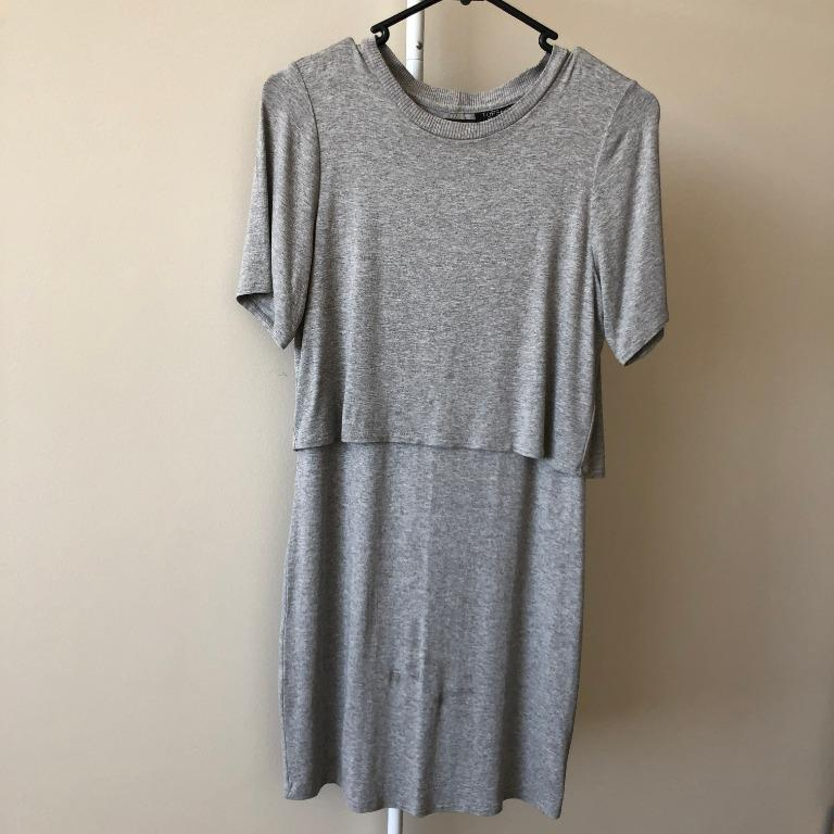 Topshop Grey Dress With Cutout At The Back (Aus Size 6)