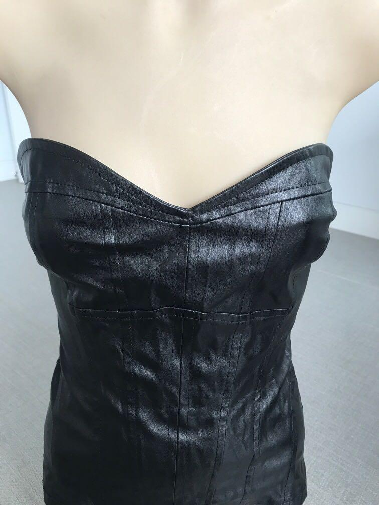 Zara leather look corset top black adjustable lace at the back size 8-10