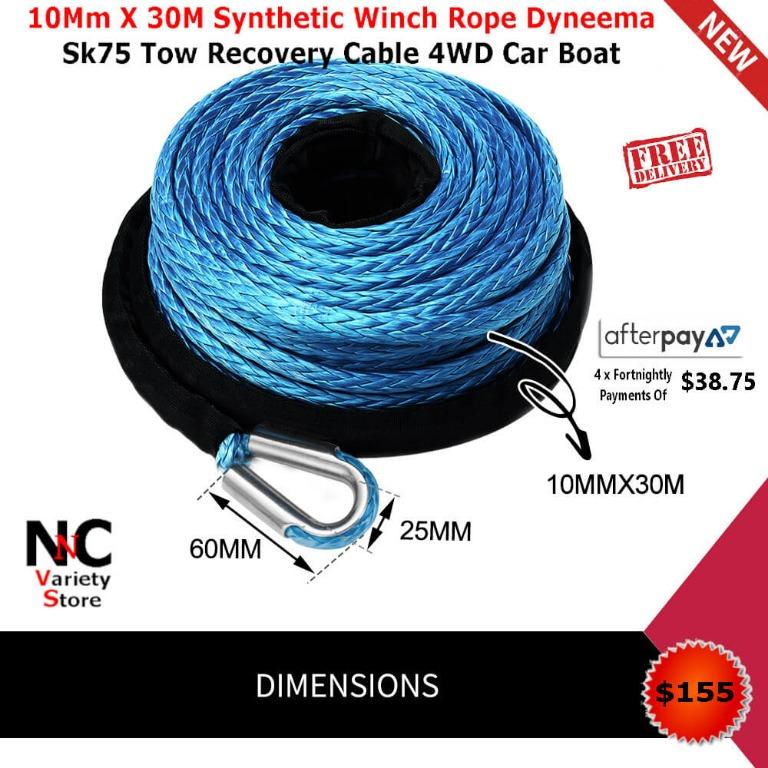10Mm X 30M Synthetic Winch Rope Dyneema Sk75 Tow Recovery Cable 4WD Car Boat