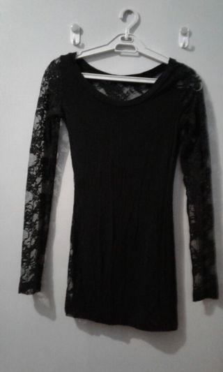 Lace back long blouse