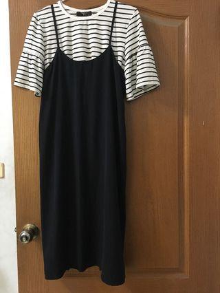 橫條上衣+連身裙/二手