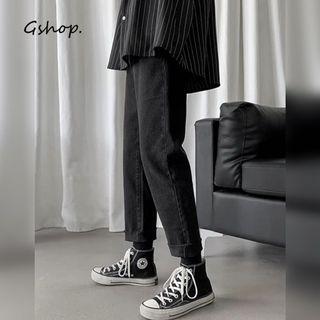 【 Gshop.】男士牛仔褲百搭寬鬆加絨直筒褲牛仔褲