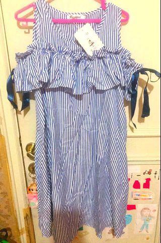 Dress korea biru stripe / dress hamil