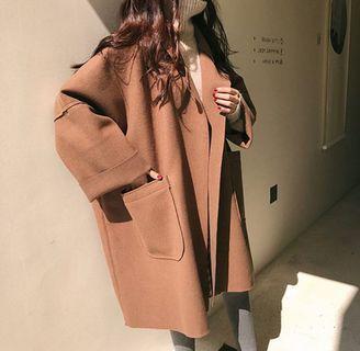 韓版無車邊 毛呢大衣外套 #出清2019