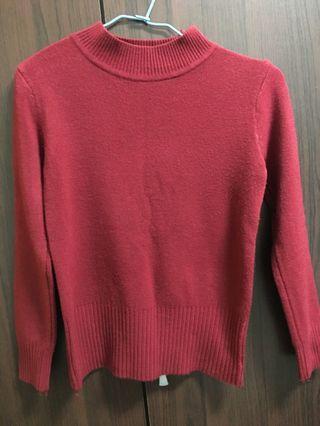 酒紅色保暖毛衣