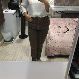 CELANA JEANS BROWN BIG SIZE OVER SIZE JUMBO SIZE