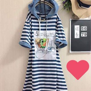 優質二手衣,海洋風長版上衣,短洋裝,中大尺碼