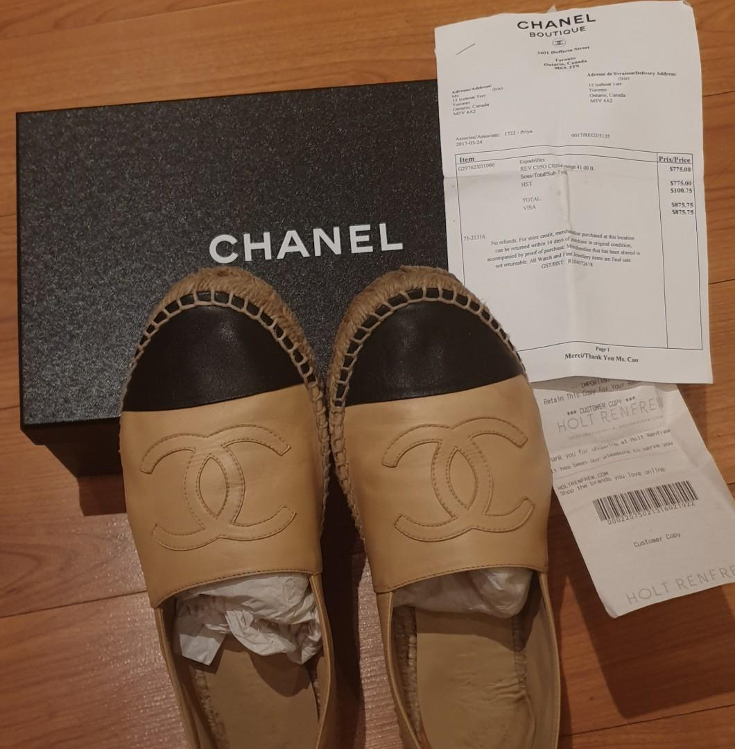 Authentic chanel leather espadrilles size 9 with receipt