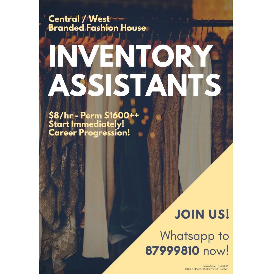Fashion Inventory Assistants @ West ($8/hr, Start Immd!)