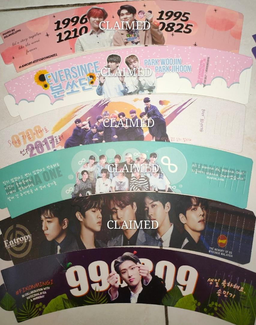 (FREE) NCT , Wanna One , Day6 , Ateez , Stray Kids , EXO , Red Velvet , SNSD Cupsleeves (READ DESC before dm-ing)