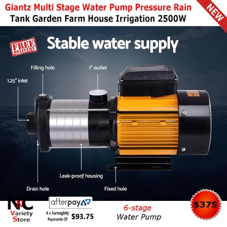 Giantz Multi Stage Water Pump Pressure Rain Tank Garden Farm House Irrigation 2500W