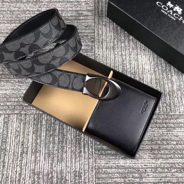 【Lz Outlets 】American direct purchase coach men's short wallet with belt two fold wallet independent card package
