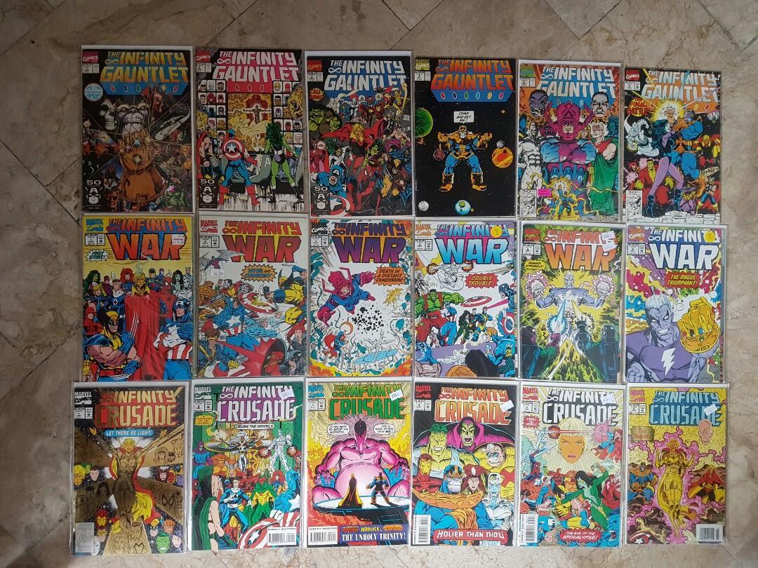 Marvel Comics Infinity Gauntlet, War, and Crusade Complete Set. Thanos. Warlock. Spider-Man. Wolverine. Iron Man