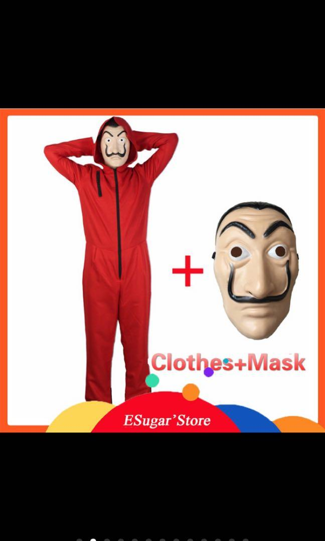 MONEY HEIST JUMPSUIT COSTUME PLUS MASK HALLOWEEN