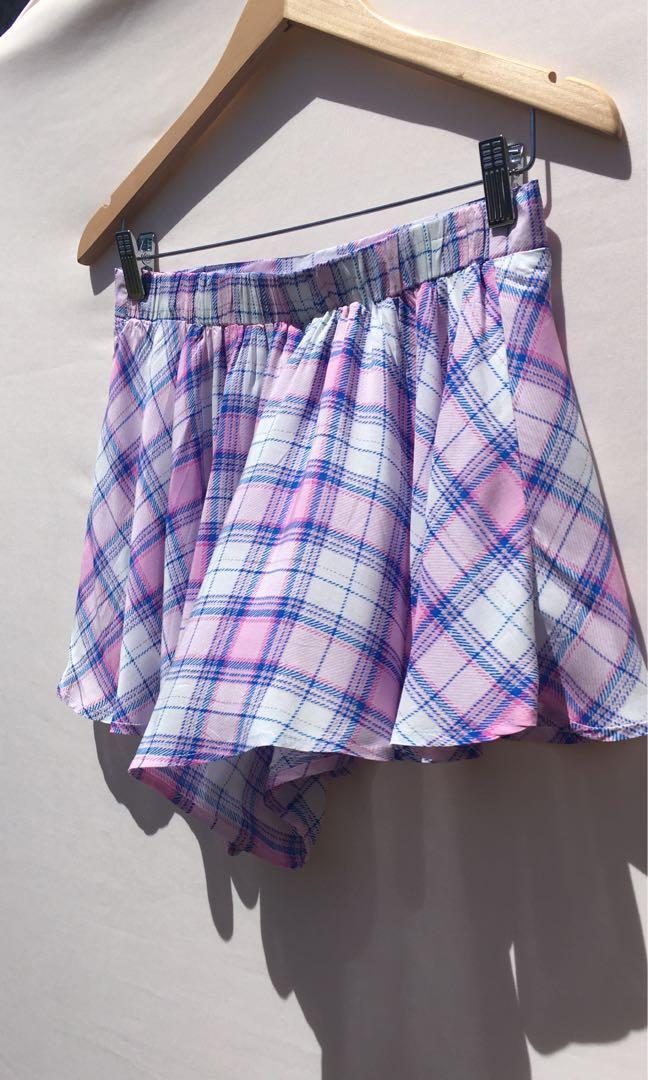 Paper Heart BNWT pastel pink plaid high waist shorts size 12