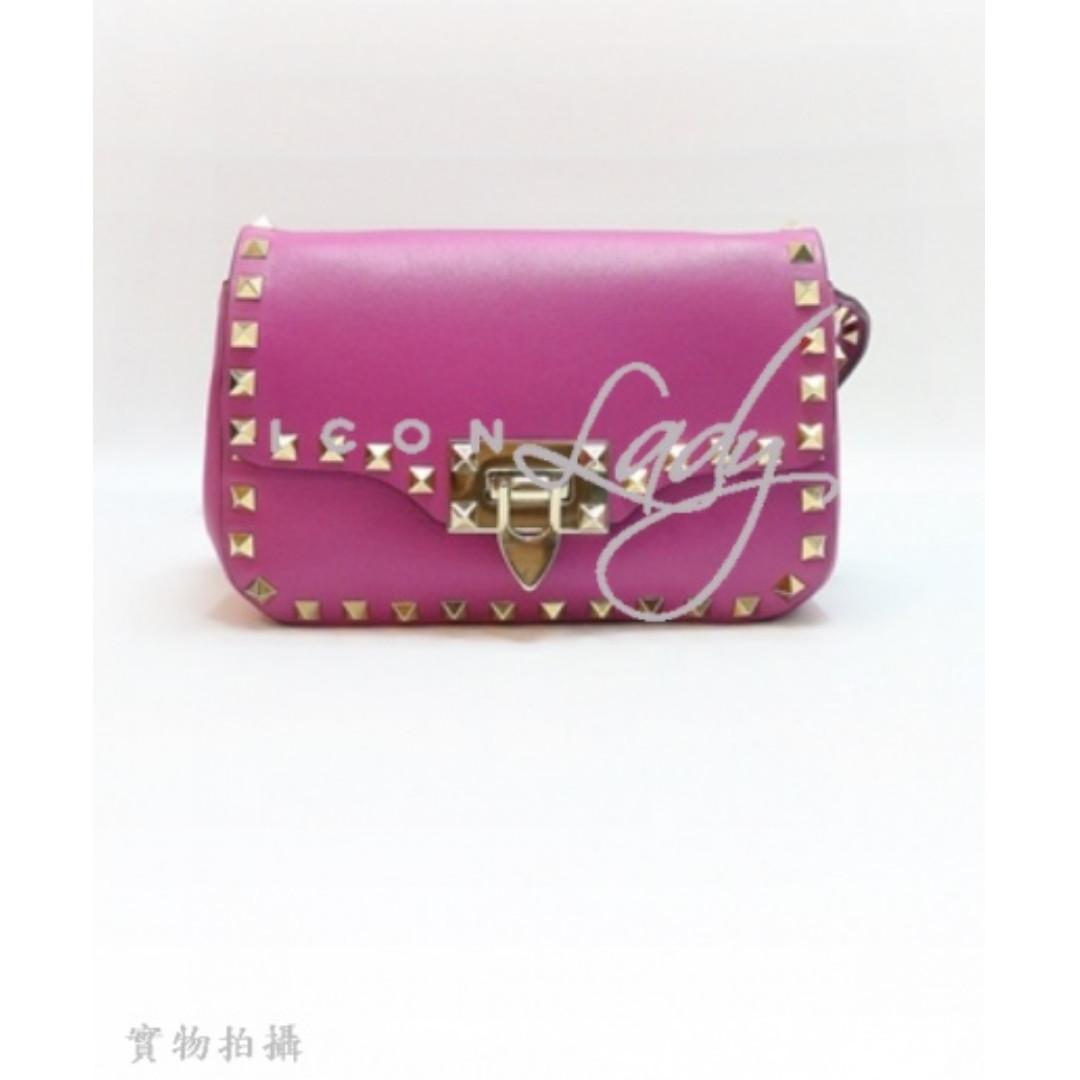 VALENTINO Rockstud 紫色小牛皮 綴淺金色窩釘 肩背袋 斜揹袋 手袋