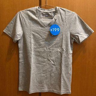 NET v領 素T 短T 短袖 T恤 T-shirt 灰色
