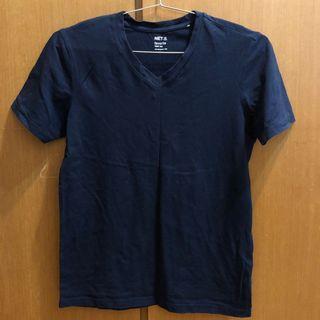 NET v領 素T T-shirt 短T T恤 短袖 合身款 丈青