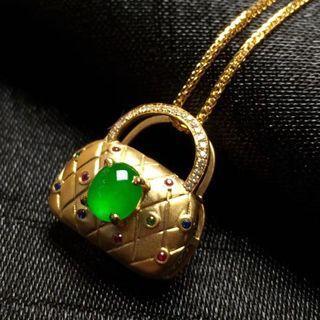18K金豪鑲老坑冰陽綠翡翠項鍊 保證天然緬甸A貨翡翠