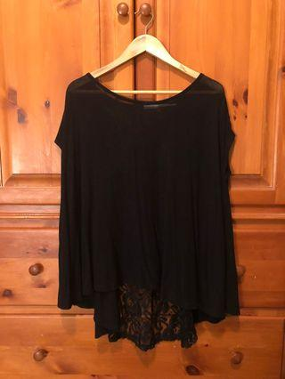 Urban Outfitters - black sheer lace back top, loose fit (XS)