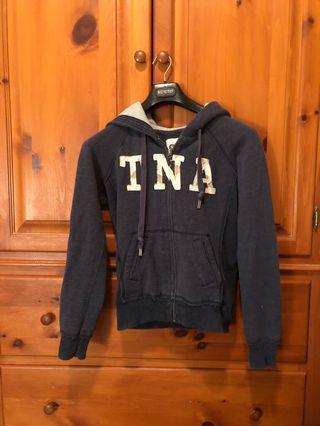 TNA - zip up sweater grey blue hoodie (M)