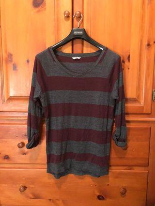 TNA - grey maroon striped tunic (S)