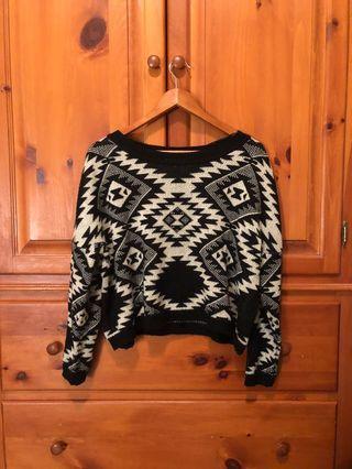 Costa Blanca - black white cropped geometric print sweater (M)