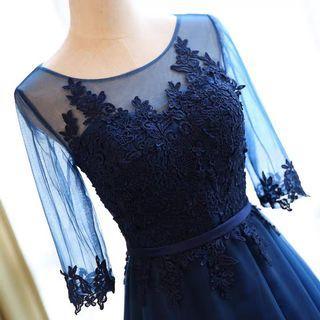 氣質深藍仙女紗裙長禮服 全新600便宜出清 買到賺到