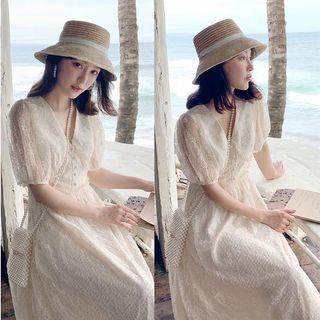 韓系甜美蕾絲洋裝 連衣裙 杏S