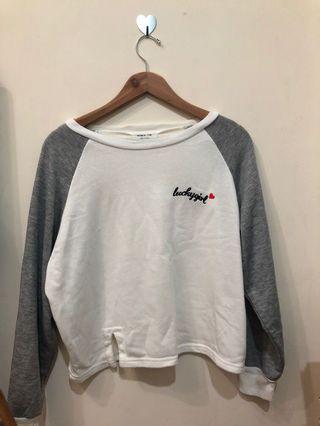韓製🇰🇷拼接開衩字母長袖