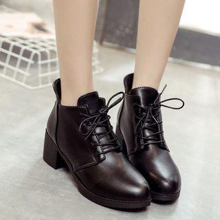 繫帶馬丁靴 英倫風學生低筒短靴 秋冬新款粗跟女靴 高跟圓頭裸靴·尺碼40