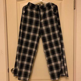 棉麻格子寬褲