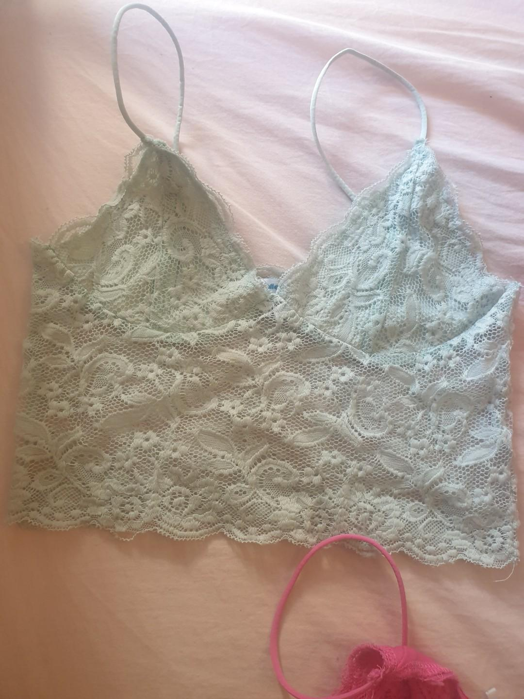 3x Lace Bralette Crop Tops Red Mint Pink Size Small