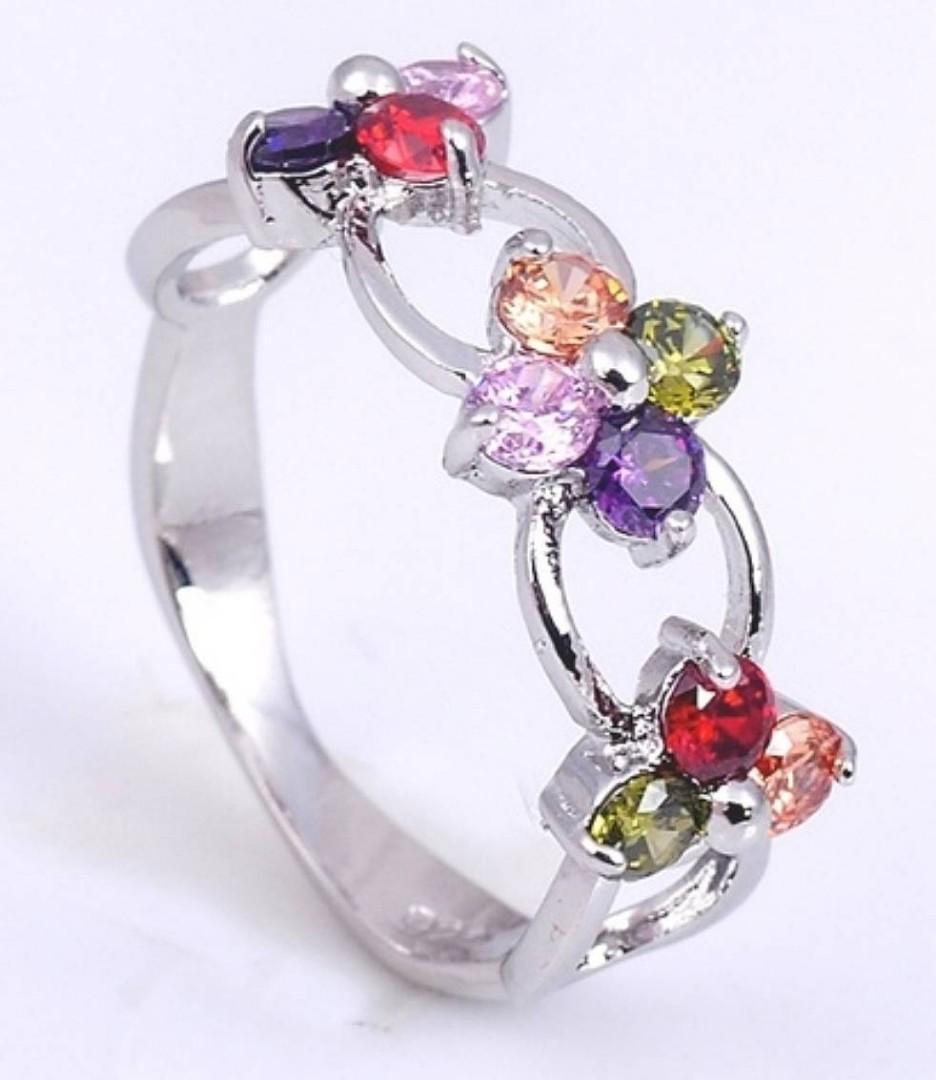 925 Sterling Silver, Tanzanite, Ruby, Topaz, Peridot Ring
