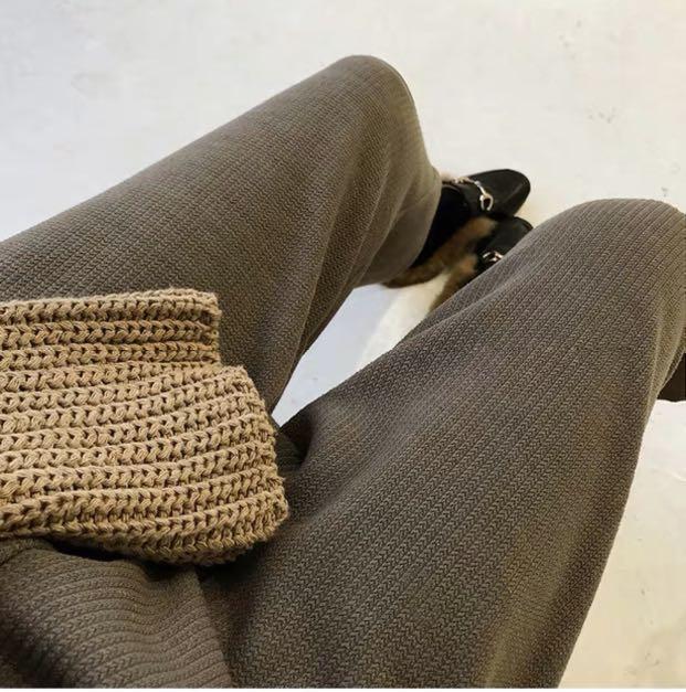 全新針織卡其高腰寬褲