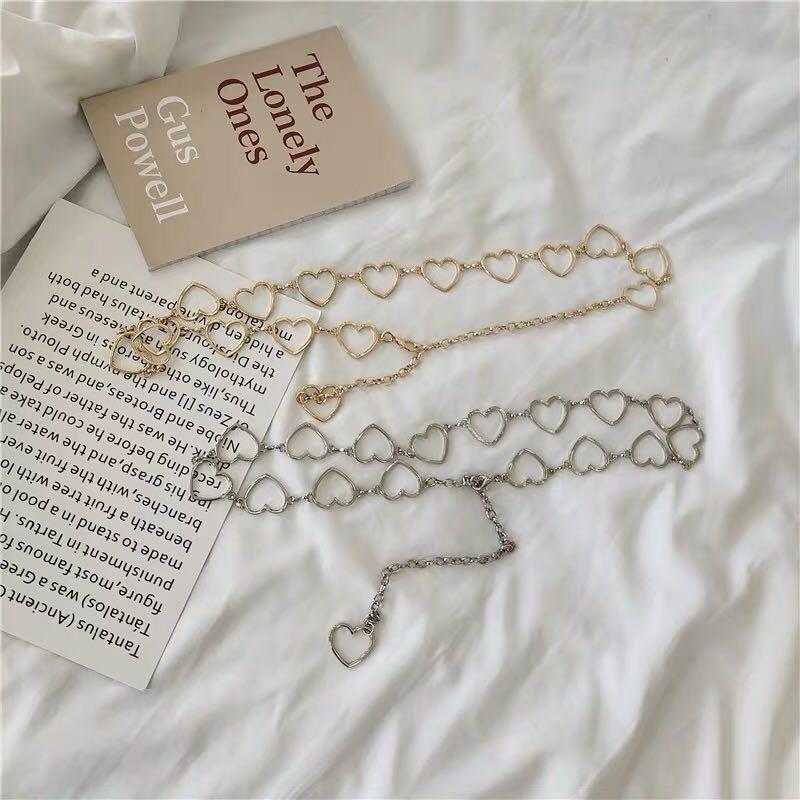 💓 hearts chained belt silver gold accessory brandy melville inspired