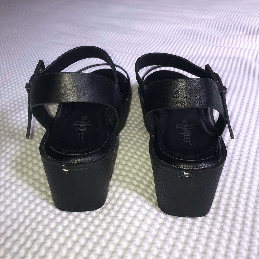 Black Platform Sandals with adjustable straps by London Rebel