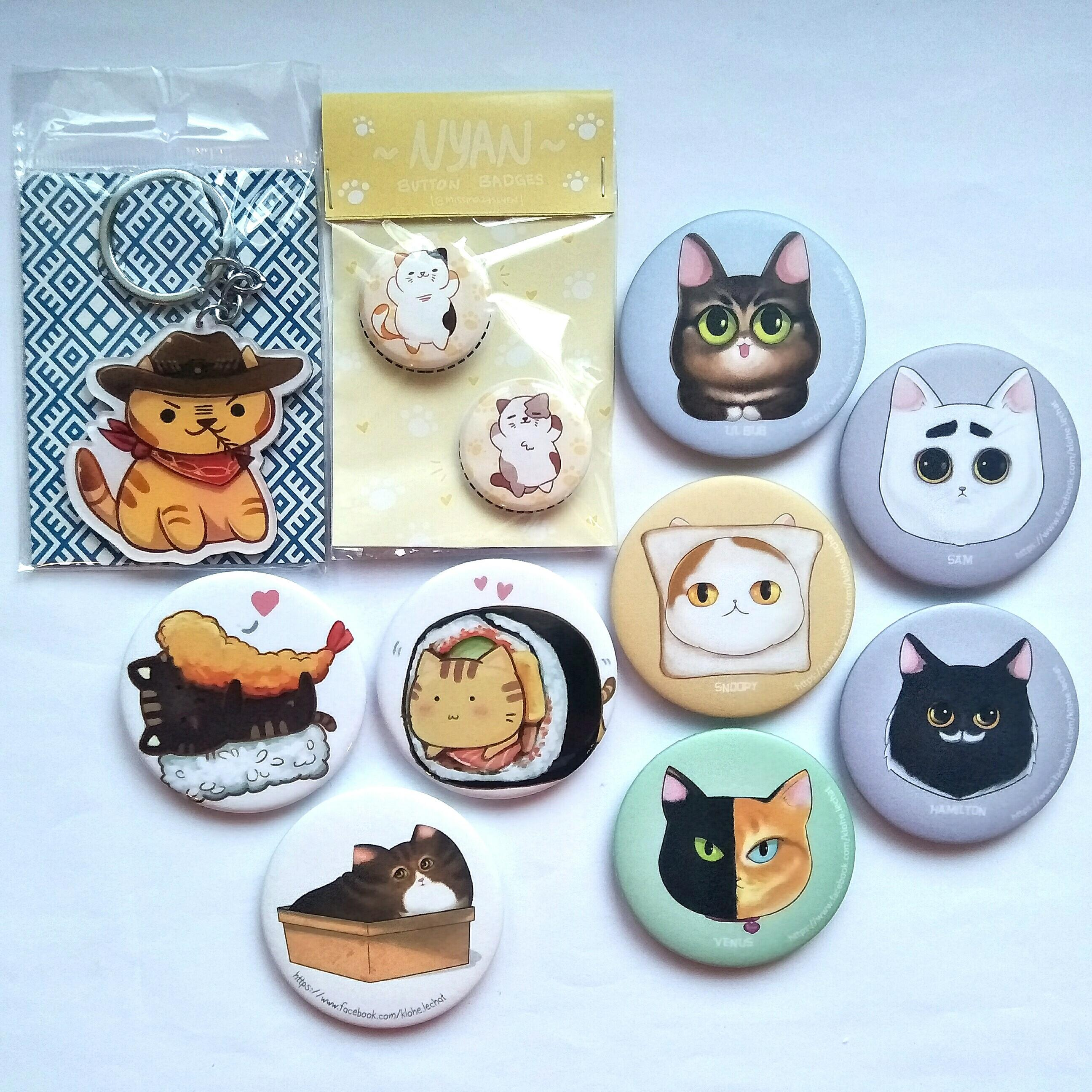 Cat Theme Fanmade Button Badges, Keychain Charms & Magnetic Bottle Opener