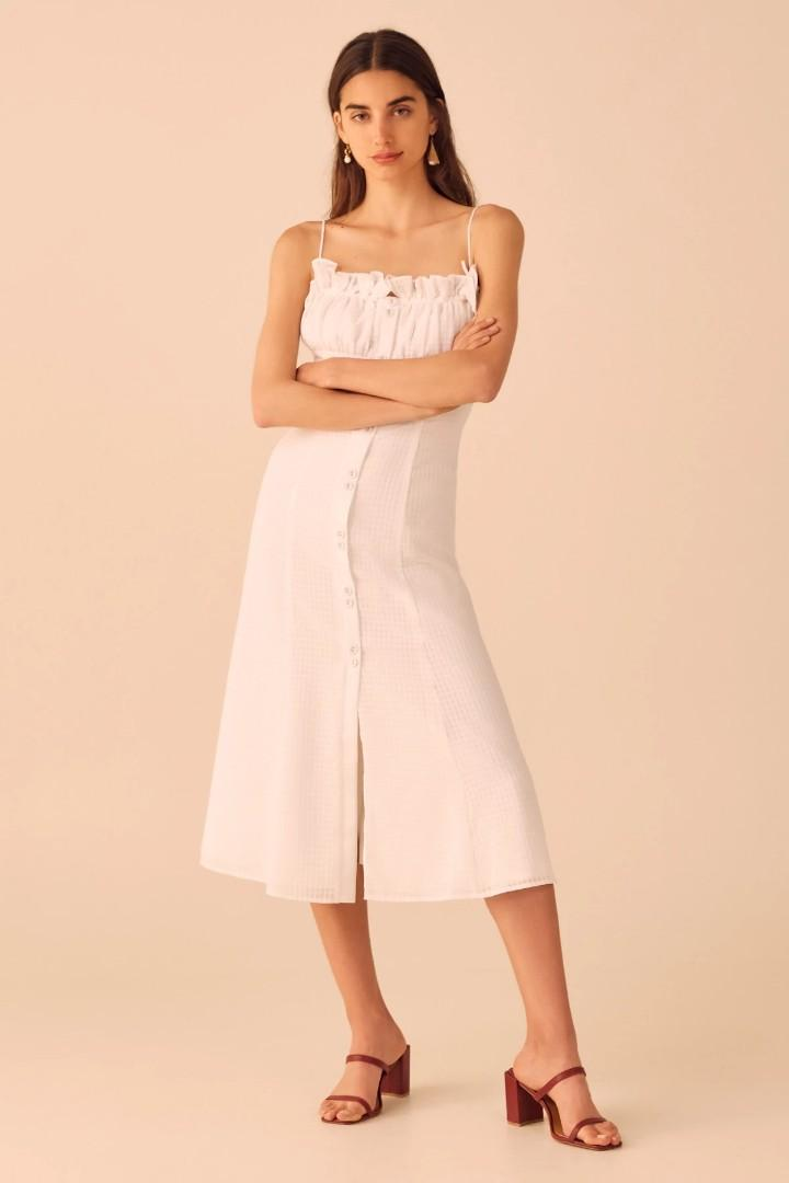 C/meo Collective Perfect Part Midi Dress in Ivory - Size L RRP $200
