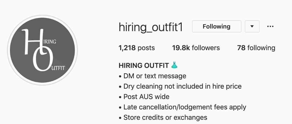 DESIGNER DRESS HIRE STORE CREDIT FOR @hiring_outfit1