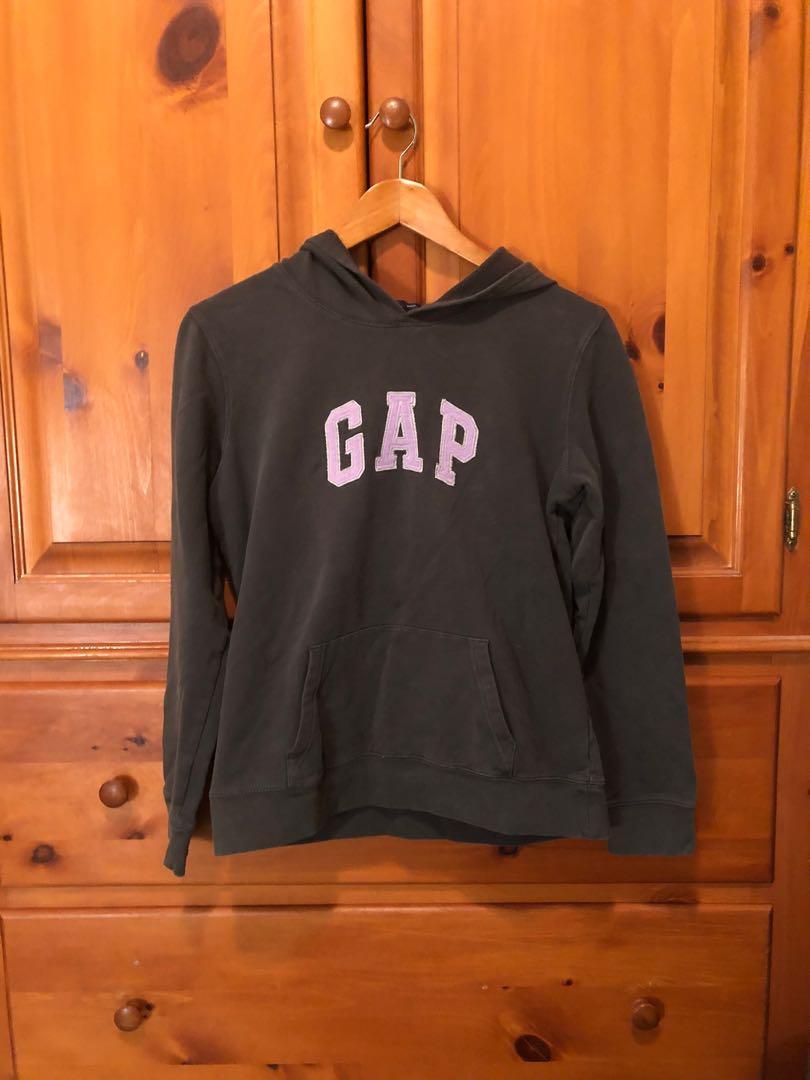 GAP - slate grey hoodie with logo, kangaroo pocket (M)