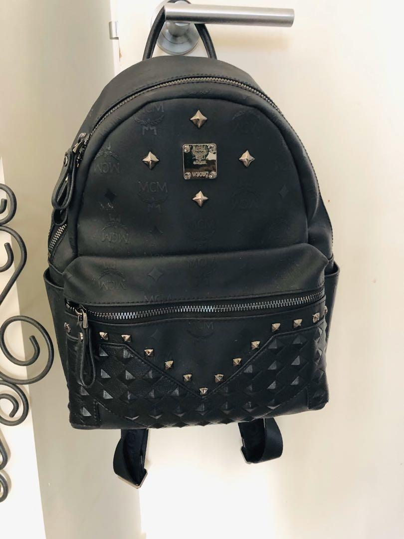 Genuine MCM leather black small backpack very good condition