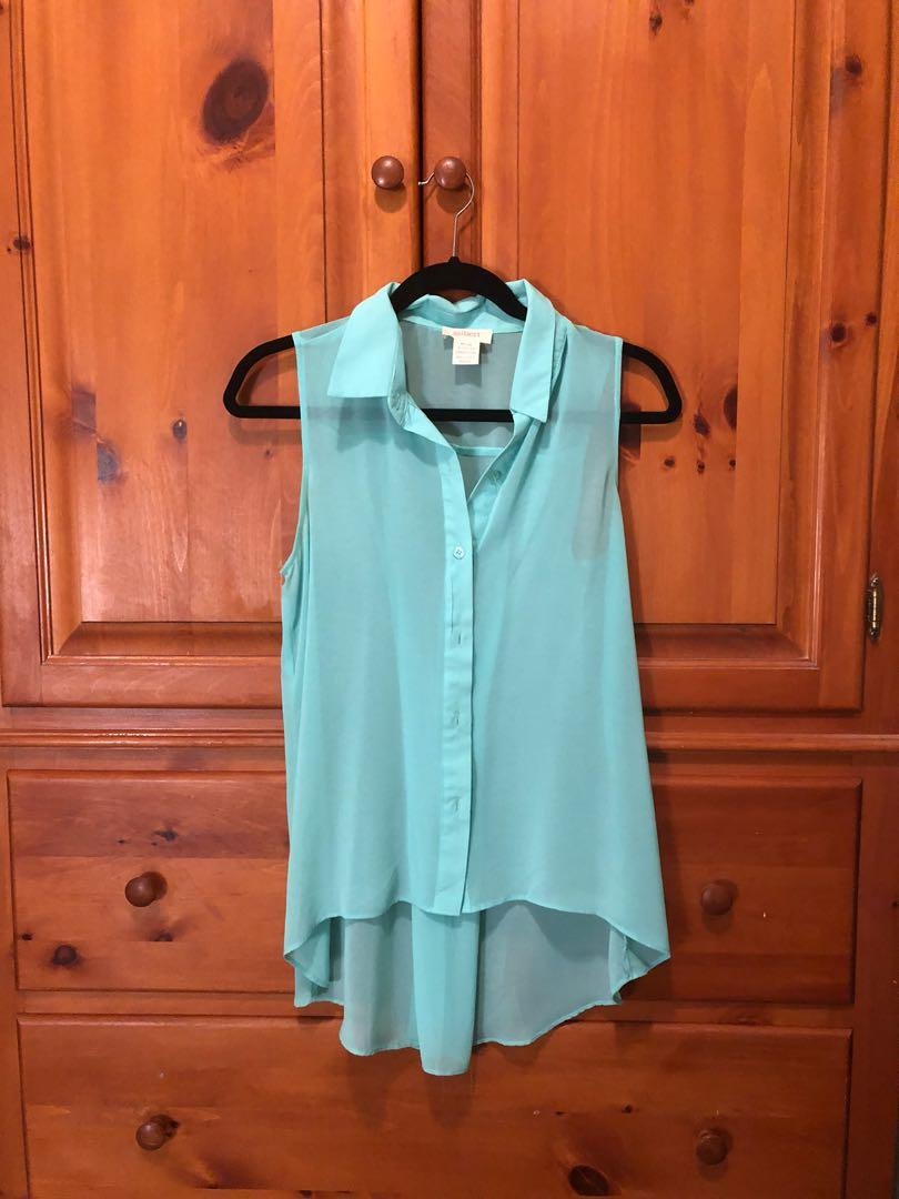 GILBERT Mendocino - teal paste chiffon sleeveless  blouse (S)