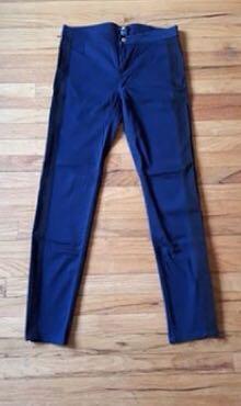 H&M Navy Blue Jeggings Size 10 eu 38 Black side stripes pants