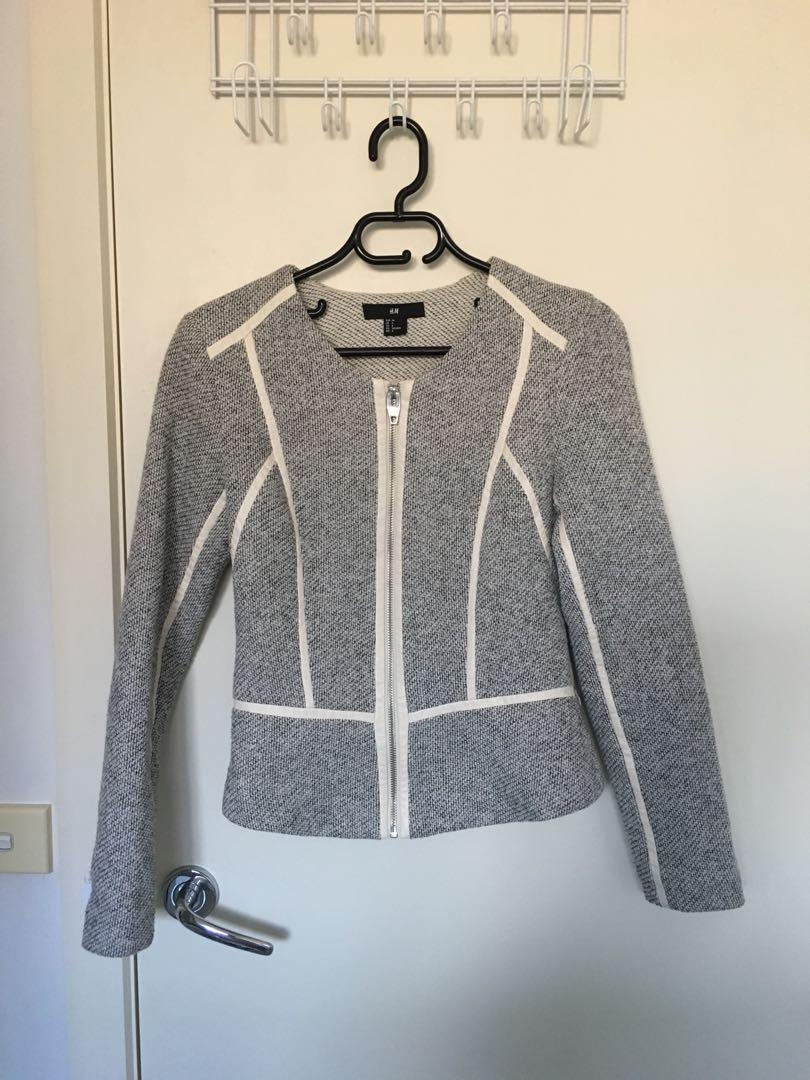 H&M outerwear coat jacket cardigan grey gray houndstooth